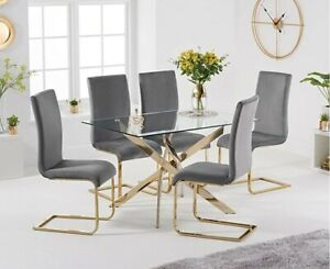 120cm Rectangular Glass Dining Table With 4 Grey Velvet Chairs 60% Discount