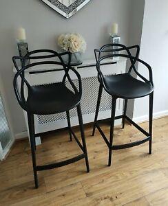 Pair Philippe Starck Kartell Masters Mat Black Bar Stools