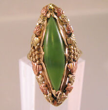 10k 12k Black Hills Gold Jade Ring Large 5.6g Vintage Size 7.75 Fine Jewelry