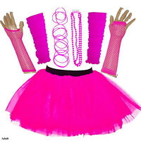 ADULT WOMEN'S 80'S FANCY DRESS NEON UV TUTU SKIRT SET HEN PARTY ACCESSORIES PINK