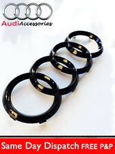 AUDI TT RS GLOSS BLACK FRONT GRILLE RINGS BADGE EMBLEMS BONNET