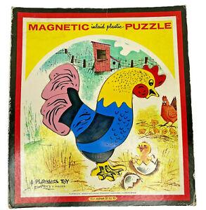 Vintage Playskool Magnetic Rooster Inlaid Plastic Puzzle - EUC - COMPLETE