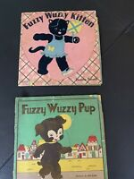 Lot 2 Vtg FUZZY WUZZY KITTEN Paperback BOOK by Purnell Pup By Grath 1943 Whitman