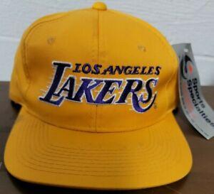 Vtg Los Angeles Lakers Sports Specialties Motion Script Snapback Hat Yellow Cap
