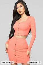 Fashion Nova Don't Push My Buttons Coral Colored Skirt Set Sz Small Brand New