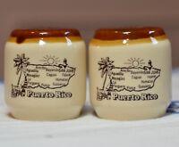 Vintage Puerto Rico Caribbean Salt & Pepper Shakers Ceramic Souvenir