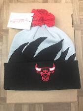 Mitchell & Ness Chicago Bulls Sharktooth Cuffed Knit Pom Beanie Hat - MSRP $24