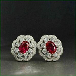 2.25Ct Oval Red Ruby Diamond 14K White Gold Over Push Back Flower Stud Earrings