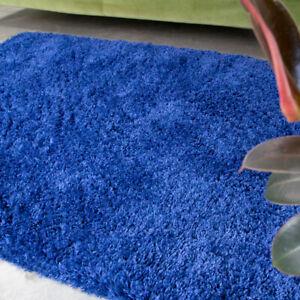 Soft Royal Navy Blue Shaggy Rug Non Shed Deep Living Room Rugs Long Hall Runner