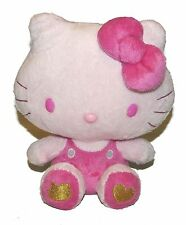 "Sanrio Hello Kitty  Plush 8.5"" Sitting Gold Heart on Foot Star on Back"