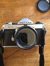 Asahi Pentax KX Sliver 35mm SLR Film Camera + SMC 35mm 1:2.8 Lens, Cable, Filter