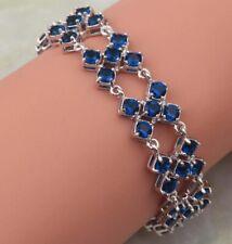 """Lovely Dark Blue Sapphire  Silver Tennis Multi Gemstone Bracelet 7"""". 11g"""