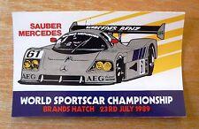 1989 World Sports Car Championship Brands Hatch Motorsport Sticker / Decal