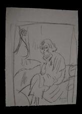 PASCIN : dessin fusain 1913 portrait d'Hermine David pensive/certif authenticité