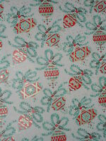 VTG CHRISTMAS DEPT STORE WRAPPING PAPER GIFT WRAP ORNAMENTS 2 YARDS