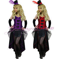Saloon Girl Fancy Dress Costume Burlesque Plus Size 6-18 Outfit Can Show Hen
