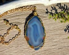 Natural Agate Gold Pendant Necklace with Inner Glow for Inner Peace and Clarity