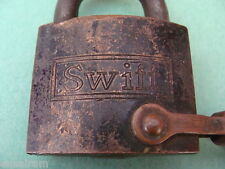 Vintage Swift & Co Padlock Brass Lock With Chain No Key made by Eagle Lock Co