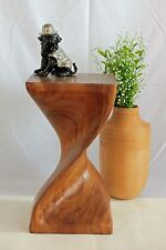 Wooden Helix Twist small side table stool lamp plant stand Acacia wood. Large