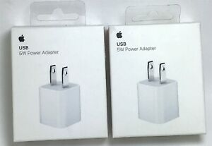 Lot of (2) Genuine Apple M810LL/A USB 5W Power Adapter for iPhone - White