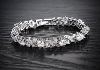 "18K White gold GF Cross ""XX"" Prong lab Diamond Tennis Soild bracelet 19cm"
