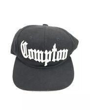 VTG Compton Black Snapback Hat Embroidered Flat Bill Ball Cap Hip Hop Hipster