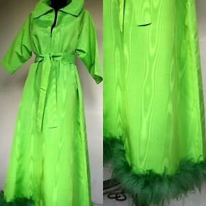 VTG 70's SAX FIFTH Green Taffeta Feather Trim Tunic Kaftan Dress Boho Hippie 12