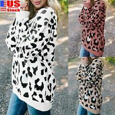 Women's Casual Leopard Knitted Sweater Tops Ladies Long Sleeve Jumper Pullover