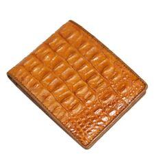 Genuine Crocodile Alligator Skin Leather Men's Bifold Wallet Orange