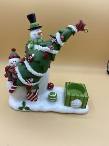 Yankee Candle T/B Snowman With Tree p4 Christmas Candle Holder