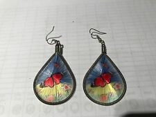 HANDCRAFTED THREAD EARRINGS  DROP BUTTERFLY  RED ADMIRAL 4CM