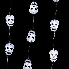 Halloween MICRO SKULL LED Light up Light Strand Battery Op New Gothic Fun