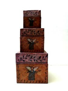 Bob's Boxes 3 Nesting Primitive Artwork Folk Angels Susan Winget  Holiday Decor