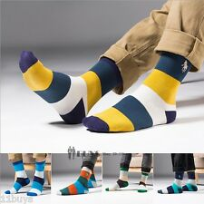 5 Pairs Men's Business polo sport style Striped Crew Combed Cotton Dress Socks