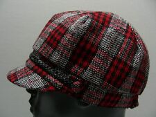 RED BLACK & WHITE PLAID - CADET CABBIE STYLE STRETCH FIT BALL CAP HAT!