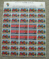 Vintage Sheet of 45 Charity Stamps Boy's Farm USA Orphans