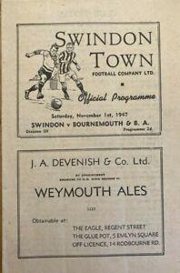 Swindon Town v Bournemouth  Div 3 (S)  1947/48