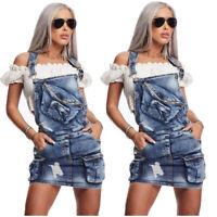 Women Sleeveless Pockets Zipper Casual Mini Denim Overall Dress Suspender Skirt