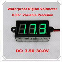 """Green 0.56""""Digital Voltmeter DC3.50-30.0V Vehicles Motor car Voltage Panel Meter"""