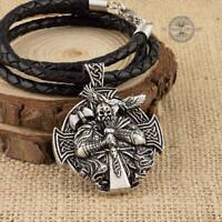 Viking Warrior Silver Tone Pendant with Black Leather Necklace