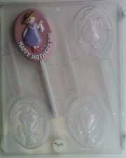 HAPPY MOTHERS DAY CHILD LOLLIPOP CLEAR PLASTIC CHOCOLATE CANDY MOLD M014