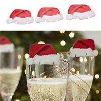 10x Carte Adorable Chapeau Flûte Champagne Décor Verre Vin Rouge Fête Noël Mode