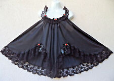 "VTG Babydoll Nightgown Silky Nylon Sheer Shortie Sexy Black Lace XXL 50"" Bust"