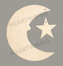 MOON WITH STAR WITH HANGING HOLES IN MDF (150mm x 6mm thick)/WOODEN CRAFT SHAPE