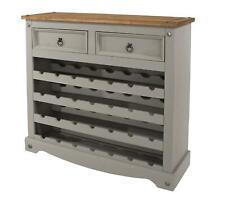 Grey Solid Pine Wood 4 Tier Wine Rack Holder 28 Bottles 2 Drawer Storage Stand