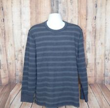 Eddie Bauer Outdoor Men's Grey Striped Long Sleeve Thermal Shirt Size XL