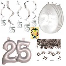 Dekoset Silberhochzeit Silberne Hochzeit Hängespiralen Ballons Konfetti gr. Zahl