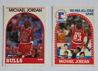 1989-90 HOOPS Basketball MICHAEL JORDAN 2x Card Lot EX-NM Bulls Last Dance NBA