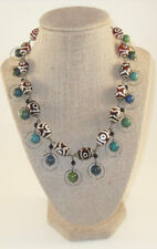 Sterling Silver Brown Glass Evil Eye Necklace with Chrysocolla, Black Onyx beads