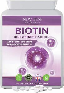 Biotin Tablets For Hair Growth Supplement 12,000mcg with Coconut Oil 100 Tablets